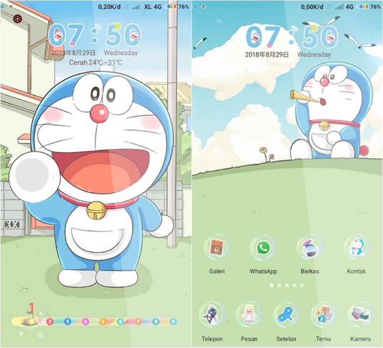 25 Tema Doraemon Android Terbaru Untuk Oppo Xiaomi Samsung
