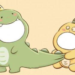 Twibbon Dino Kuning Dan Dino Hijau